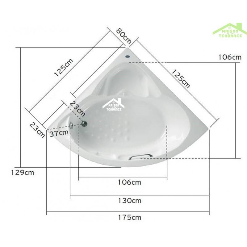 Baignoire D Angle Acrylique Mykonos 125x125 145x145cm