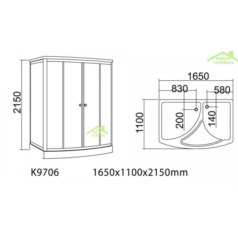 combin baignoire douche avec hammam doua k 549 130x130 cm x 225 cm. Black Bedroom Furniture Sets. Home Design Ideas