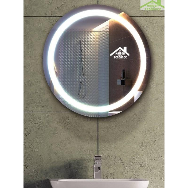 Miroir rond de bain avec lumi re et armoire 53cm for Armoire de salle de bain avec miroir et lumiere