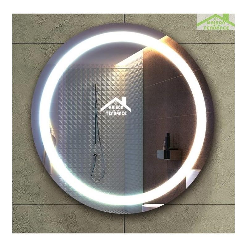 Miroir rond de bain avec lumi re et armoire 53cm for Miroir avec lumiere