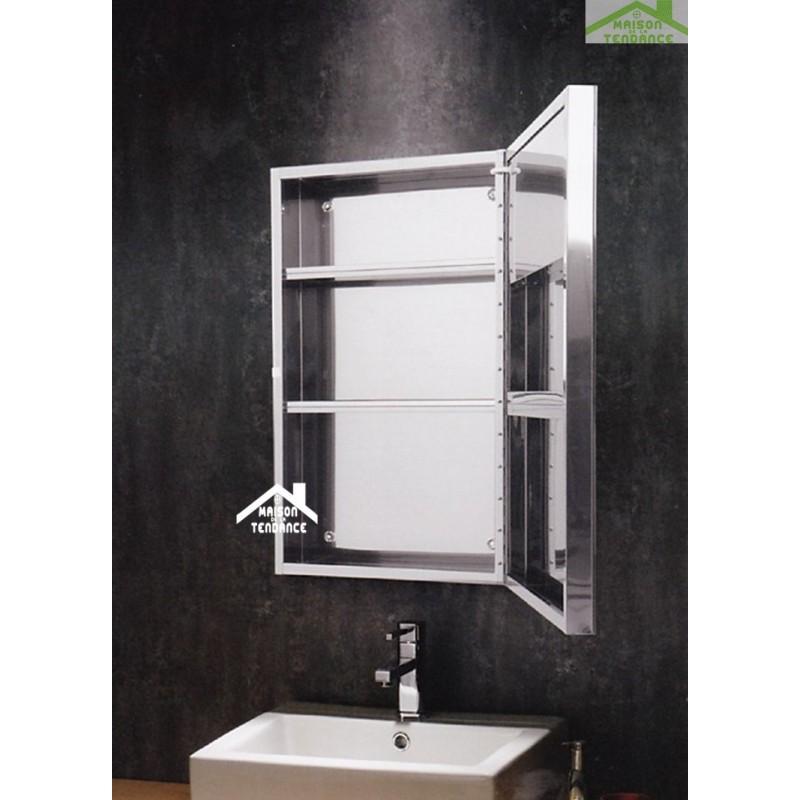 Miroir rectangulaire de bain avec lumi re et armoire 67x40 cm for Miroir rectangulaire
