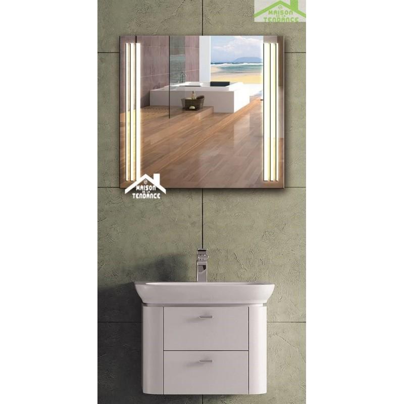 Miroir de bain avec lumi re led 70x60 cm for Lumiere led salle de bain