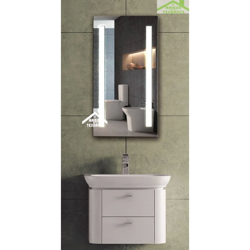 miroir de bain avec lumi re led 90x50 cm. Black Bedroom Furniture Sets. Home Design Ideas