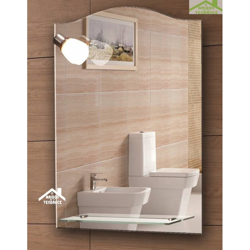 Miroir de bain avec applique et tablette 85x45 cm for Miroir avec tablette salle de bain