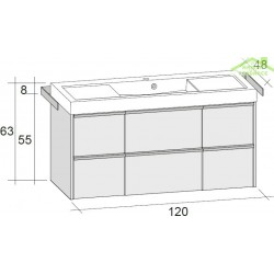 Ensemble meuble & lavabo RIHO ANDORA SET 15 en bois stratifié 120x63 x H 48 cm