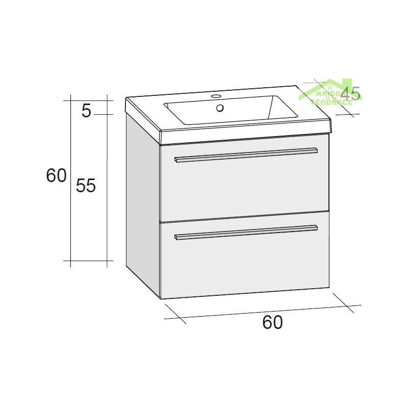 Ensemble meuble lavabo riho bellizzi set 02 60x45x h 60 - Ensemble lavabo meuble ...