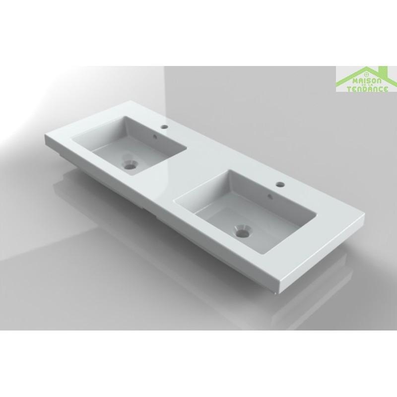 Double lavabo rectangulaire blanc en c ramique 121x45 cm - Lavabo ceramique blanc ...