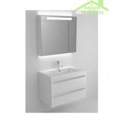 Sous meuble de lavabo en bois stratifié à 2 portes RIHO BELLIZZI  80x55x45 cm