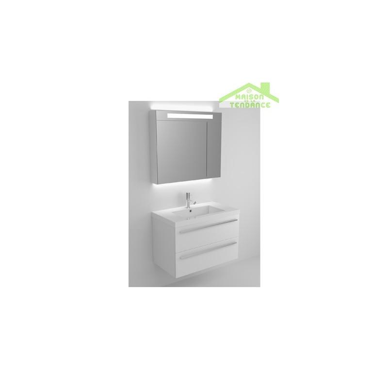 Sous meuble de lavabo 2 portes riho bellizzi 80x55x45 cm - Meuble sous lavabo 45 cm ...