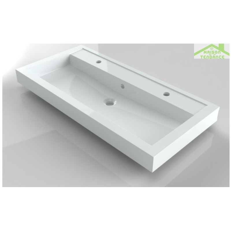 Stunning grand lavabo blanc trous en cramique riho bologna for Evier encastrable ceramique