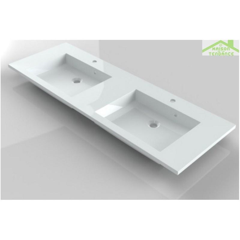 lavabo double 2 trous en marbre de synth se riho broni 140x48 cm maison de la tendance. Black Bedroom Furniture Sets. Home Design Ideas