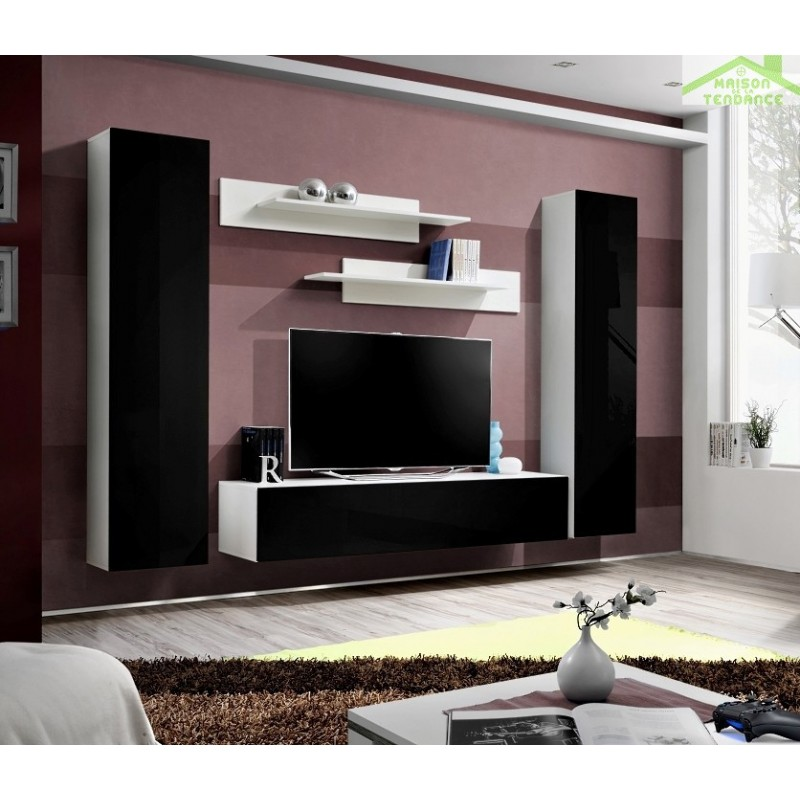 Ensemble meuble tv mural fly a de haute brillance for Meuble mural tv fly