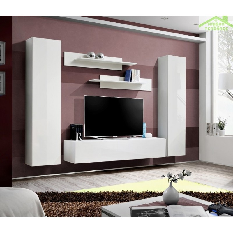 ensemble meuble tv mural fly a de haute brillance. Black Bedroom Furniture Sets. Home Design Ideas