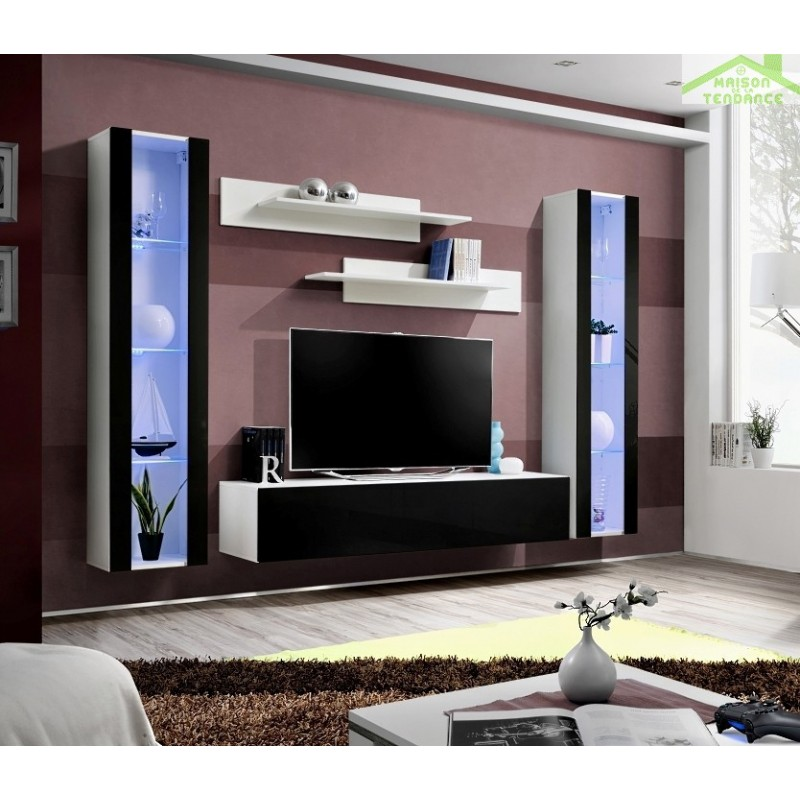 Ensemble meuble tv mural fly a avec led for Meuble tv suspendu fly