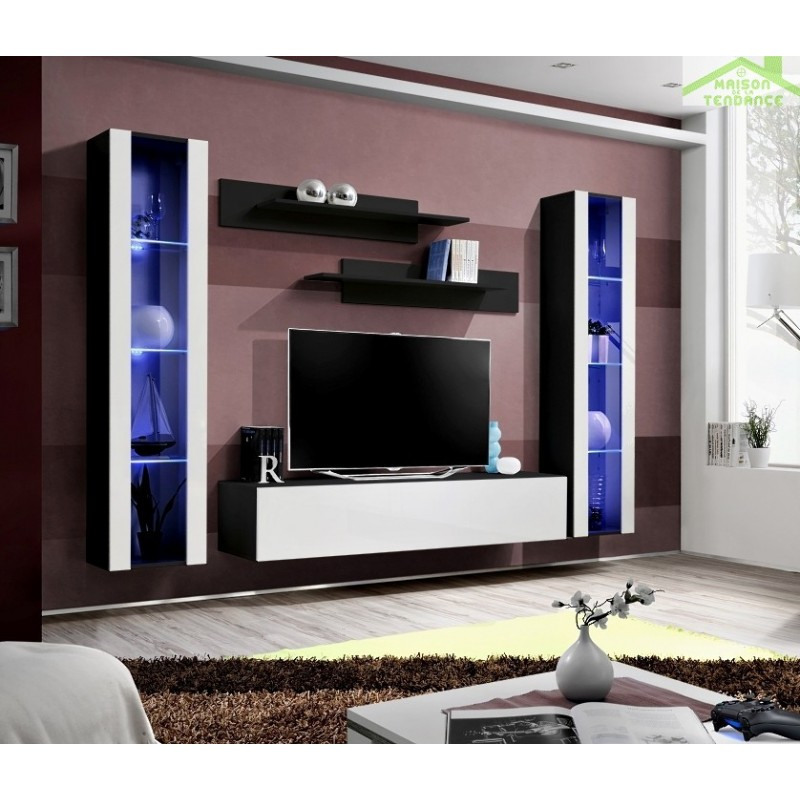 gallery of ensemble meuble tv mural flya avec led with etagere murale fly. Black Bedroom Furniture Sets. Home Design Ideas