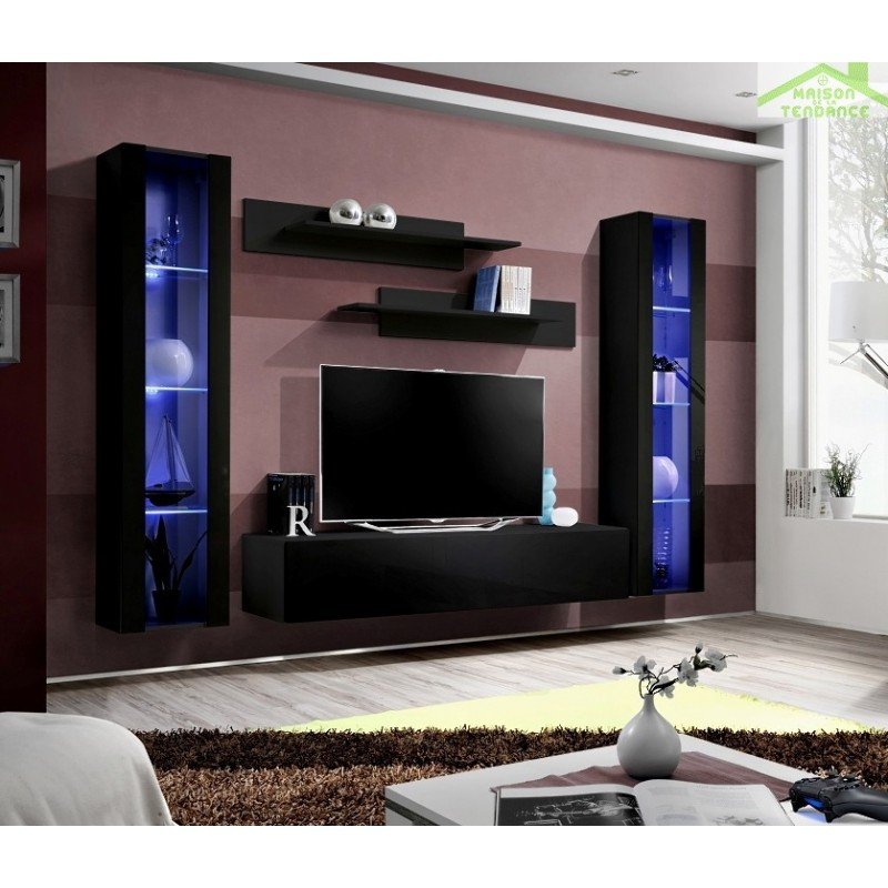 Ensemble meuble tv mural fly a avec led for Ensemble meuble tv led