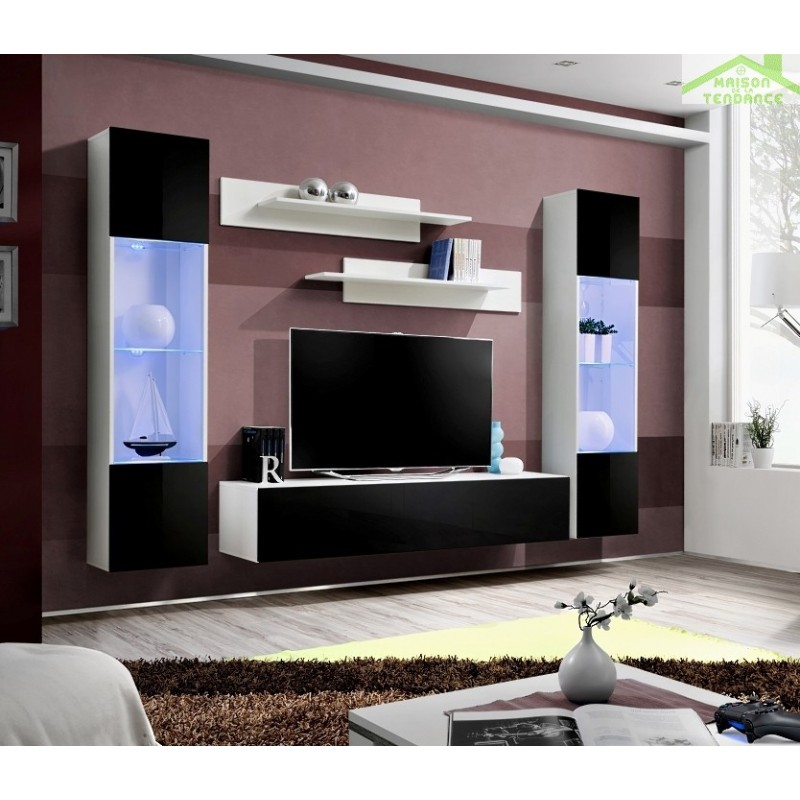 Ensemble meuble tv mural fly a avec led for Meuble mural tv fly