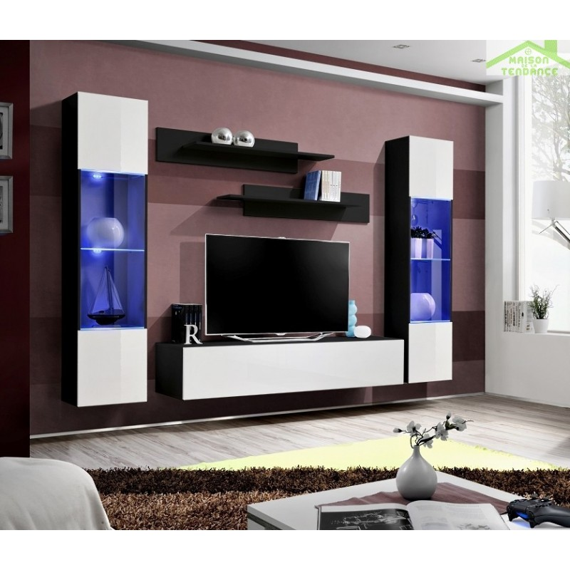 Meuble Tv Initial Fly : Ensemble Meuble Tv Mural Fly-a Avec Led