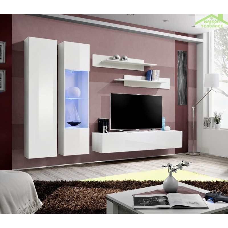 ensemble meuble tv mural fly a avec led. Black Bedroom Furniture Sets. Home Design Ideas