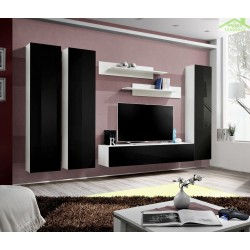 Ensemble meuble TV mural FLY-C de haute brillance