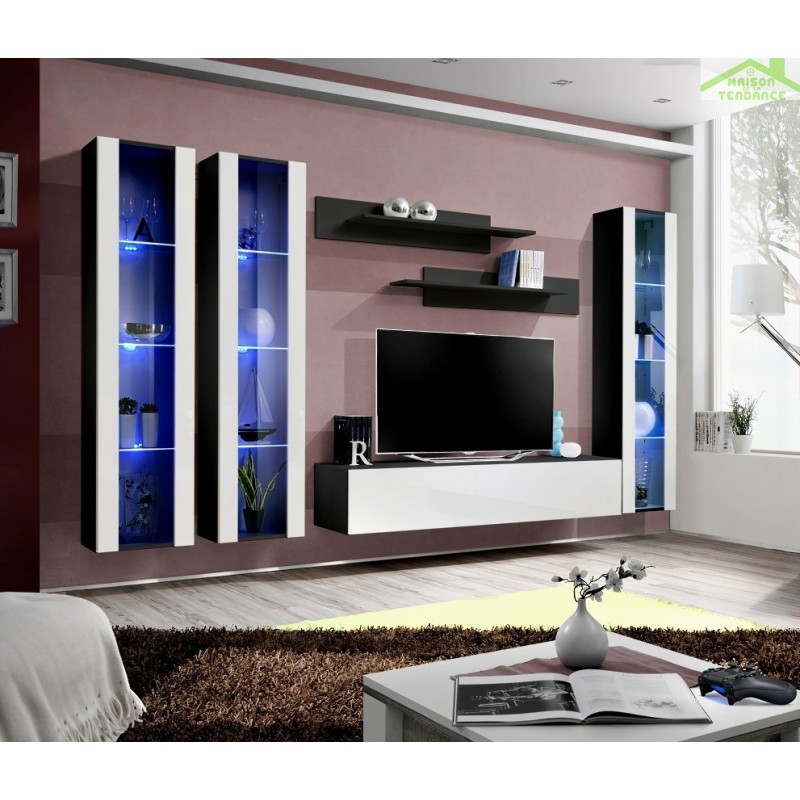 ensemble meuble tv mural fly c de haute brillance. Black Bedroom Furniture Sets. Home Design Ideas