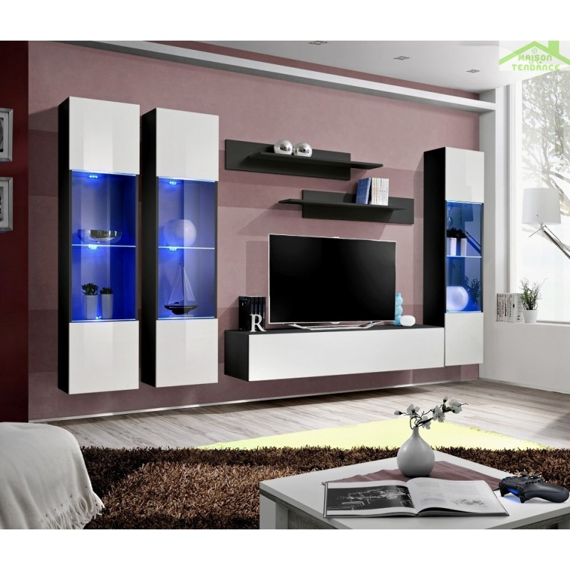Ensemble meuble tv mural fly c avec led for Meuble mural tv fly