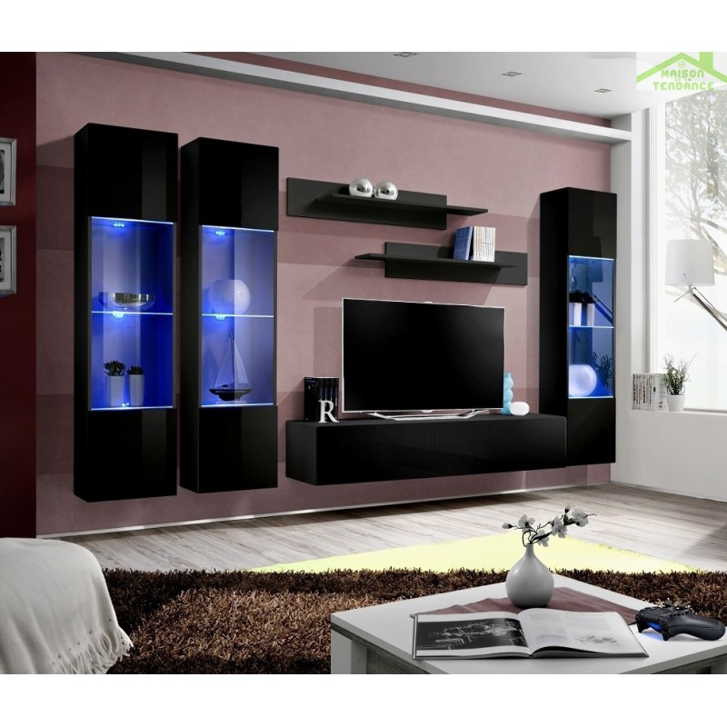 Ensemble meuble tv mural fly c avec led - Ensemble mural tv design ...
