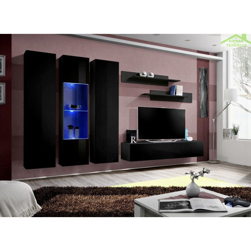 ensemble meuble tv mural fly c avec led. Black Bedroom Furniture Sets. Home Design Ideas