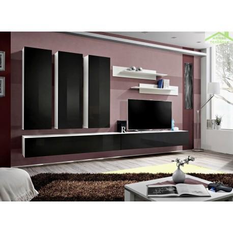 ensemble meuble tv mural fly e de haute brillance. Black Bedroom Furniture Sets. Home Design Ideas