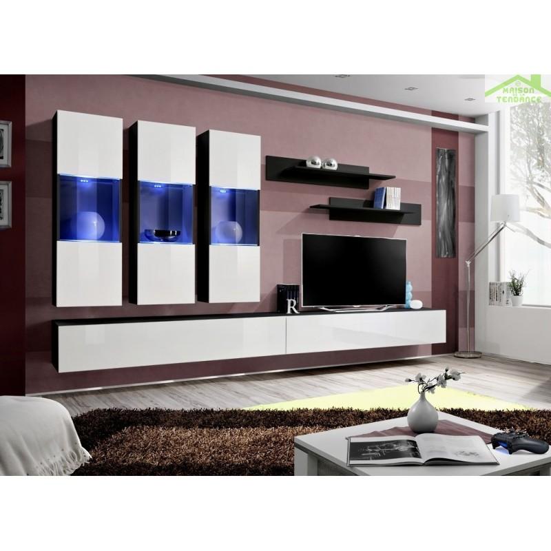 ensemble meuble tv mural fly e de haute brillance avec led. Black Bedroom Furniture Sets. Home Design Ideas