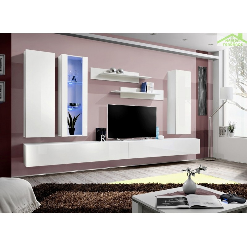 Ensemble meuble tv mural fly e de haute brillance avec led for Meuble tv suspendu fly