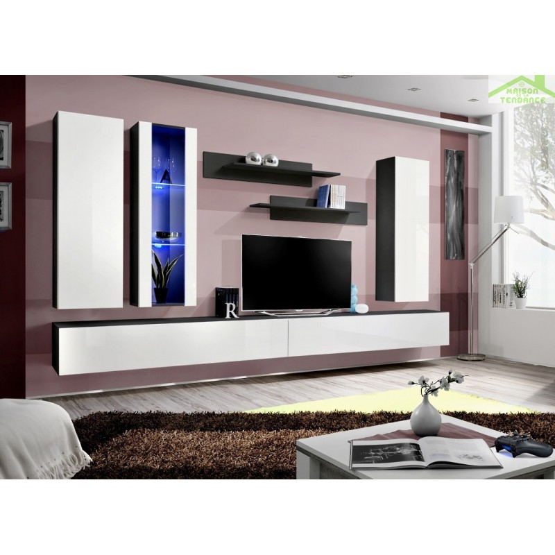 Ensemble meuble tv mural fly e de haute brillance avec led for Meuble mural tv fly