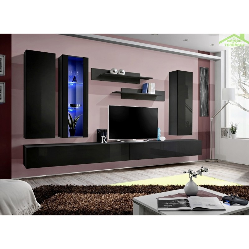 Ensemble meuble tv mural fly e de haute brillance avec led for Ensemble meuble tv led