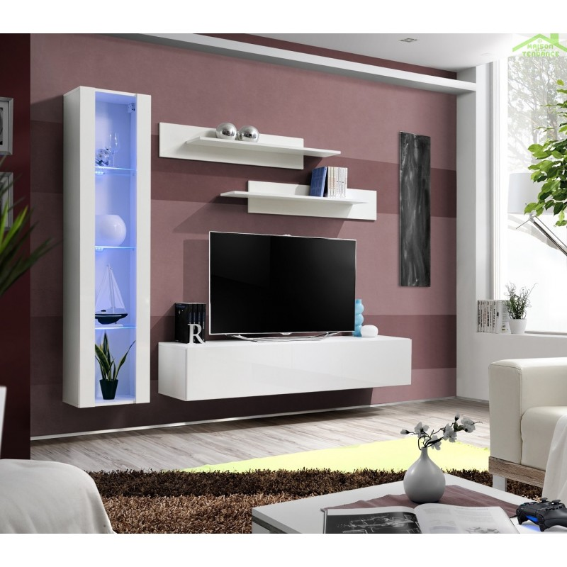 ensemble meuble tv mural fly g de haute brillance avec led. Black Bedroom Furniture Sets. Home Design Ideas