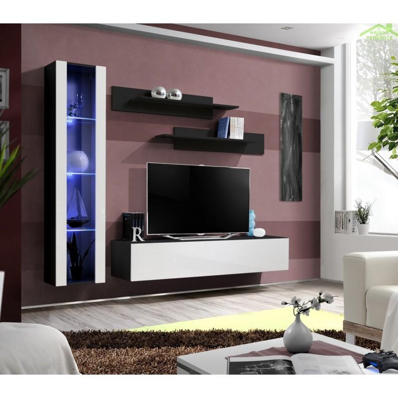 ensemble meuble tv mural fly g de haute brillance avec led. Black Bedroom Furniture Sets. Home Design Ideas