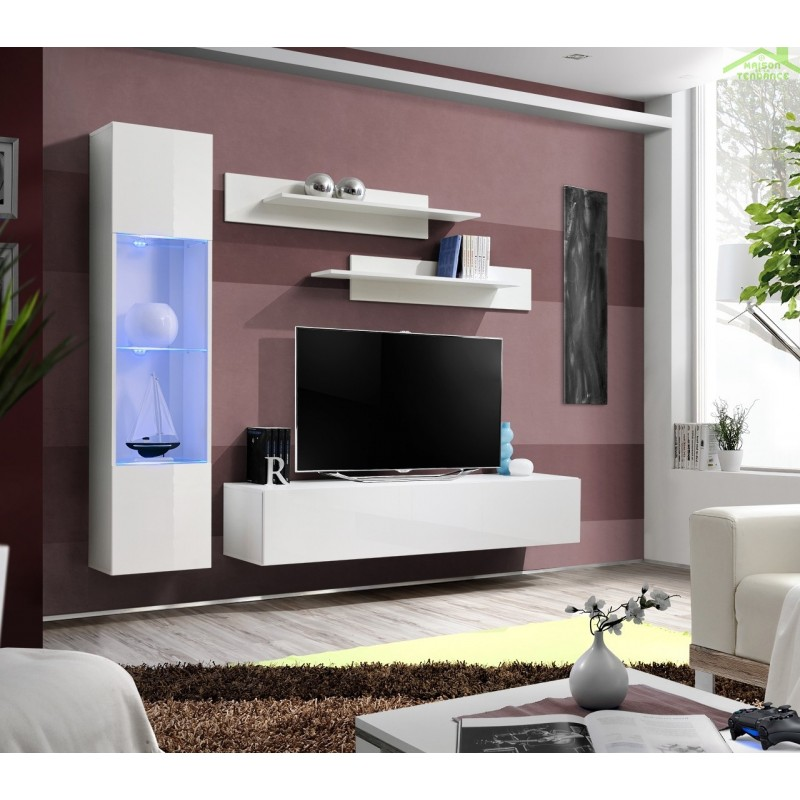 Ensemble meuble tv mural fly g de haute brillance avec led for Meuble mural tv fly