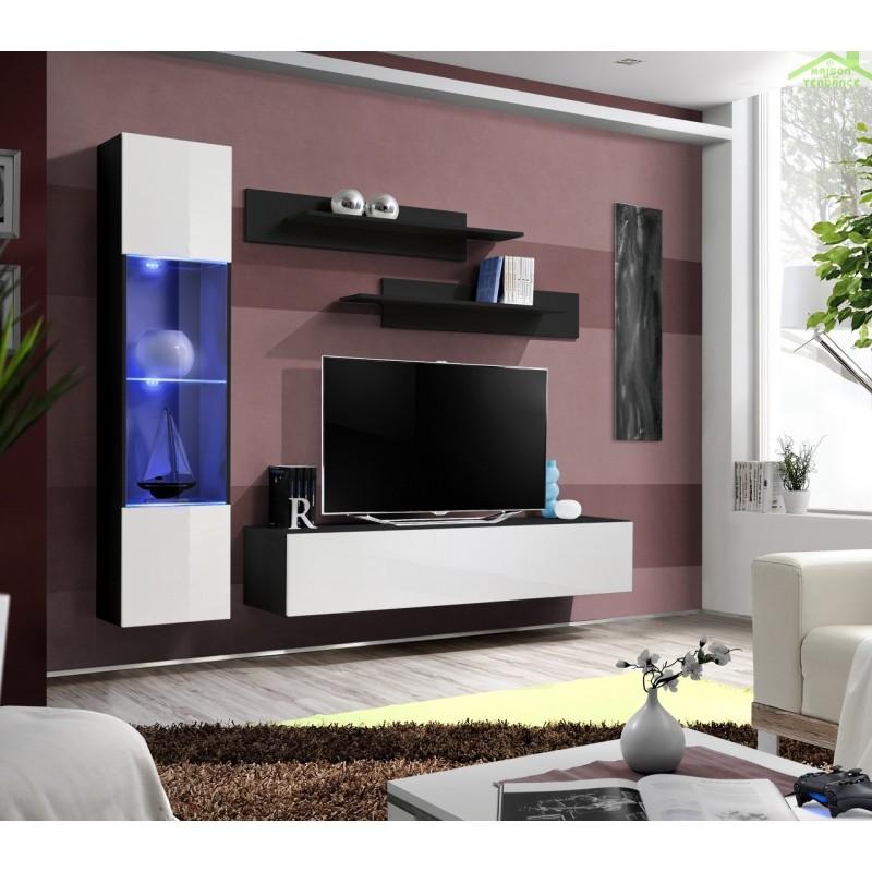 Ensemble meuble TV mural FLY-G de haute brillance avec LED