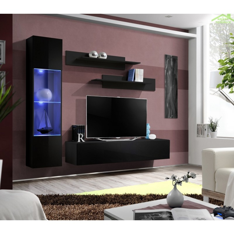 Ensemble meuble tv mural fly g de haute brillance avec led for Ensemble meuble tv led