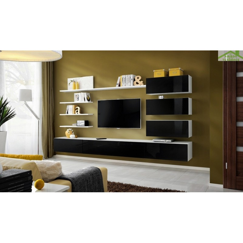 ensemble meuble tv mural italia de haute brillance. Black Bedroom Furniture Sets. Home Design Ideas
