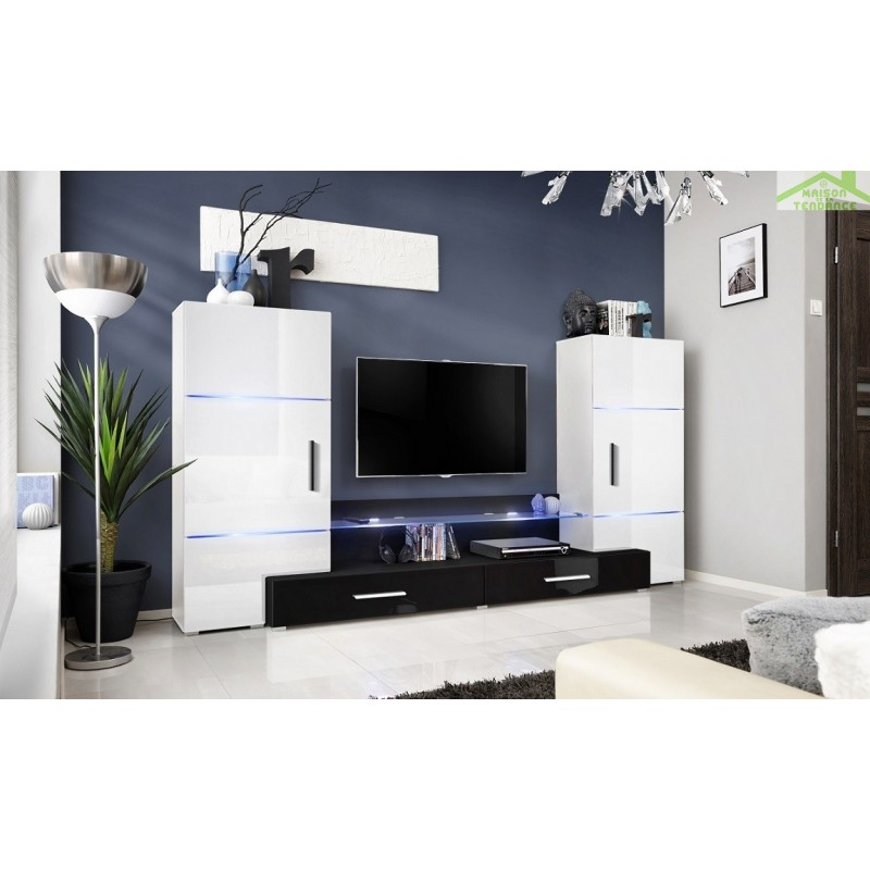 Ensemble meuble tv mural fly h de haute brillance avec led for Meuble mural tv fly