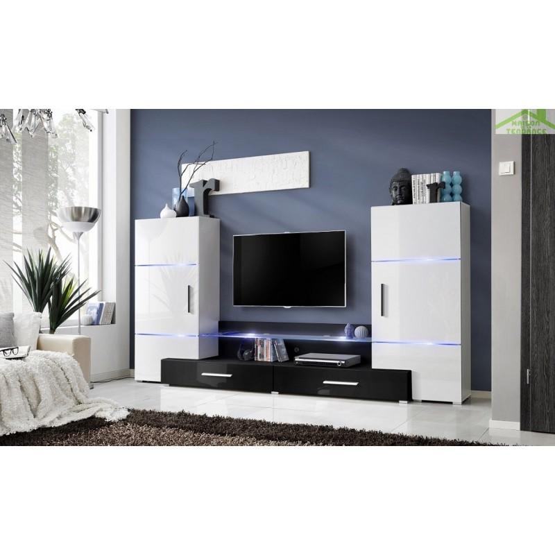 Ensemble meuble tv mural fly h de haute brillance avec led - Meuble salon fly ...