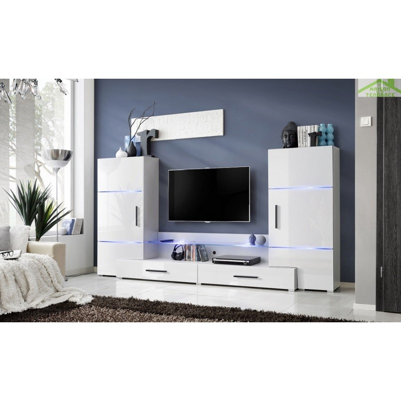 Ensemble meuble tv mural fly h de haute brillance avec led - Meuble tv encastrable ...