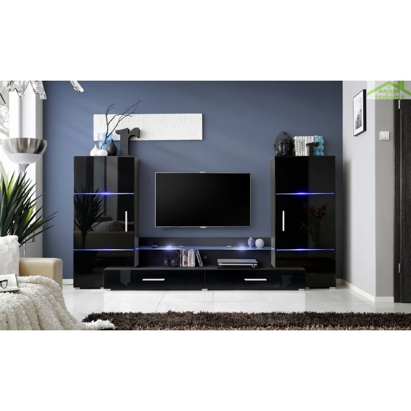 ensemble meuble tv mural fly h de haute brillance avec led. Black Bedroom Furniture Sets. Home Design Ideas