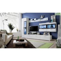 Ensemble meuble TV  KRONE II noir et blanc de haute brillance avec LED