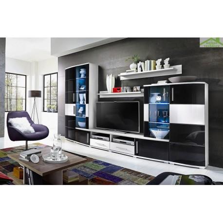 Ensemble meuble tv lake noir et blanc de haute brillance for Meuble tv haut noir