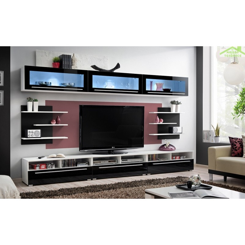 Ensemble meuble tv crystal de haute brillance for Meuble tv haut noir