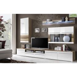 Ensemble meuble TV LAKE noir et blanc de haute brillance