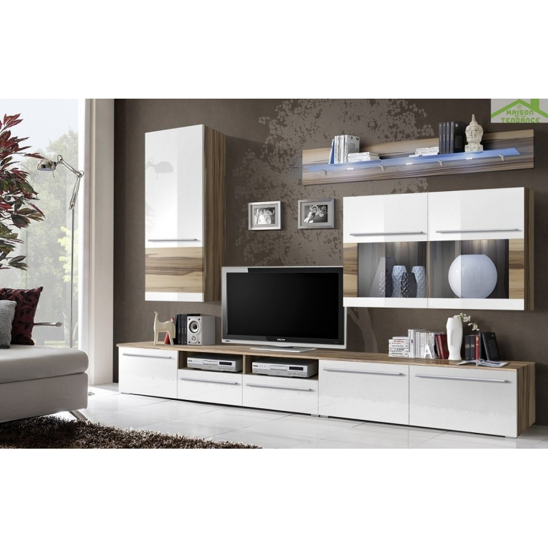 ensemble meuble tv malou marron et blanc de haute brillance. Black Bedroom Furniture Sets. Home Design Ideas