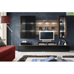 Ensemble meuble TV ECLIPSE noir et prune de haute brillance