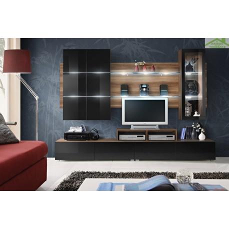 Ensemble meuble tv eclipse noir et prune de haute brillance for Meuble tv haut noir